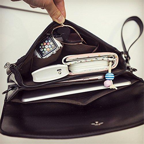 à glissière Loisirs Sac métal PU bandoulière Bag Gland Noir Enveloppe rétro bandoulière Simple Serrure Fermeture Type Messenger à XqSASP