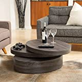 Great Deal Furniture Lenox Oval Mod Rotating Wood Coffee Table
