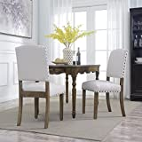 parson dining chairs Belleze Set of (2) Parson Chair Dining Seat Modern Nail Head Home Accent High Backrest Wooden Leg, Beige