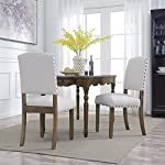 BELLEZE | Modern Upholstered Dining Chair | Parsons | Linen Fabric | Nail head |Set of 2 |Beige