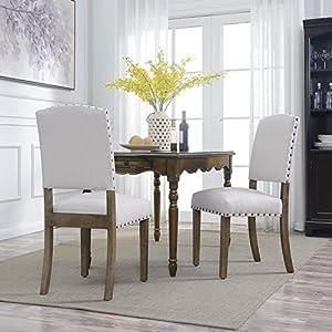 BELLEZE Set of (2) Parson Chair Dining Seat Modern Nail Head Home Accent High Backrest Wooden Leg, Beige