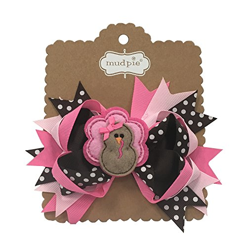 Mud Pie Thanksgiving Turkey Oversize Hair Bow Accessory, Pink/Brown and White -
