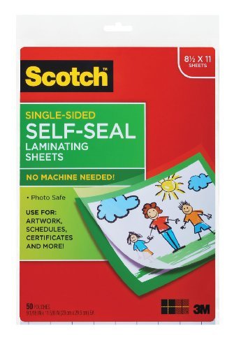 Scotch 9 x 12 Inches Laminating Sheets Letter Size Single Sided, 50 Pouches (SF854-1B) ()