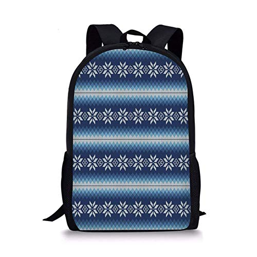(School Bags Winter,Traditional Scandinavian Needlework Inspired Pattern Jacquard Flakes Knitting Theme Decorative, for Boys&Girls Mens Sport Daypack)