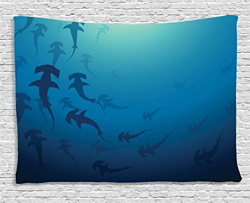 Ambesonne Sea Animals Decor Tapestry, Hammerhead Shark School Scan Ocean Dangerous Predator Wild Nature Illustration, Wall Hanging for Bedroom Living Room Dorm, 80 W X 60 L Inches, Navy Blue (Most Dangerous Sharks)