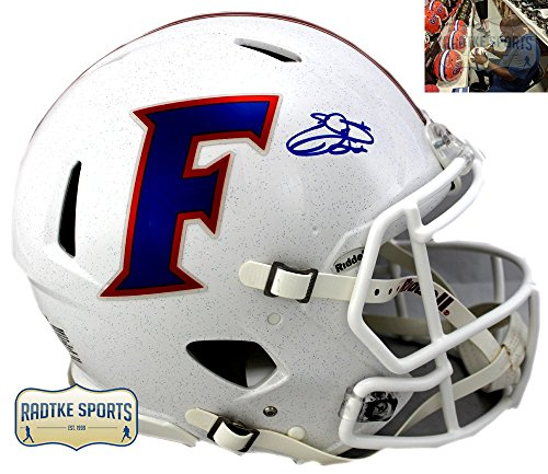 (Emmitt Smith Autographed/Signed Florida Gators Riddell Throwback White Speed Full Size Helmet)