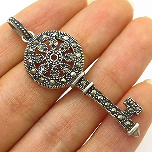 Signed 925 Sterling Silver Real Marcasite Gemstone Ornate Key Design Pendant Jewelry Making Supply by Wholesale Charms