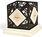 Simply Stated by Pavilion 4-1/4-Inch Square Metal Scroll Candle Holder, Hope Peace Faith Love Sentiment