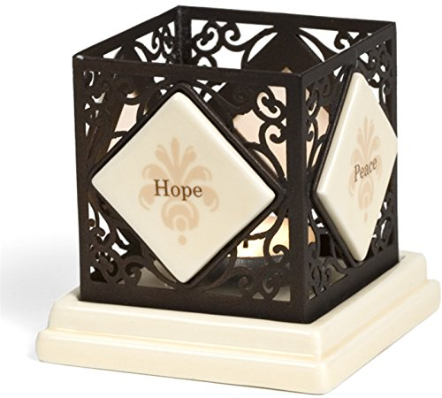 Simply Stated by Pavilion 4-1/4-Inch Square Metal Scroll Candle Holder, Hope Peace Faith Love Sentiment by Simply Stated by Pavilion