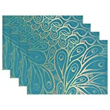 Doodle Peacock Feathers Pattern Gradient Blue Placemats, ALIREA Heat-resistant Placemats Stain Resistant Anti-skid Washable Polyester Table Mats Non Slip Easy Clean Placemats, 12''x18'', Set of 6