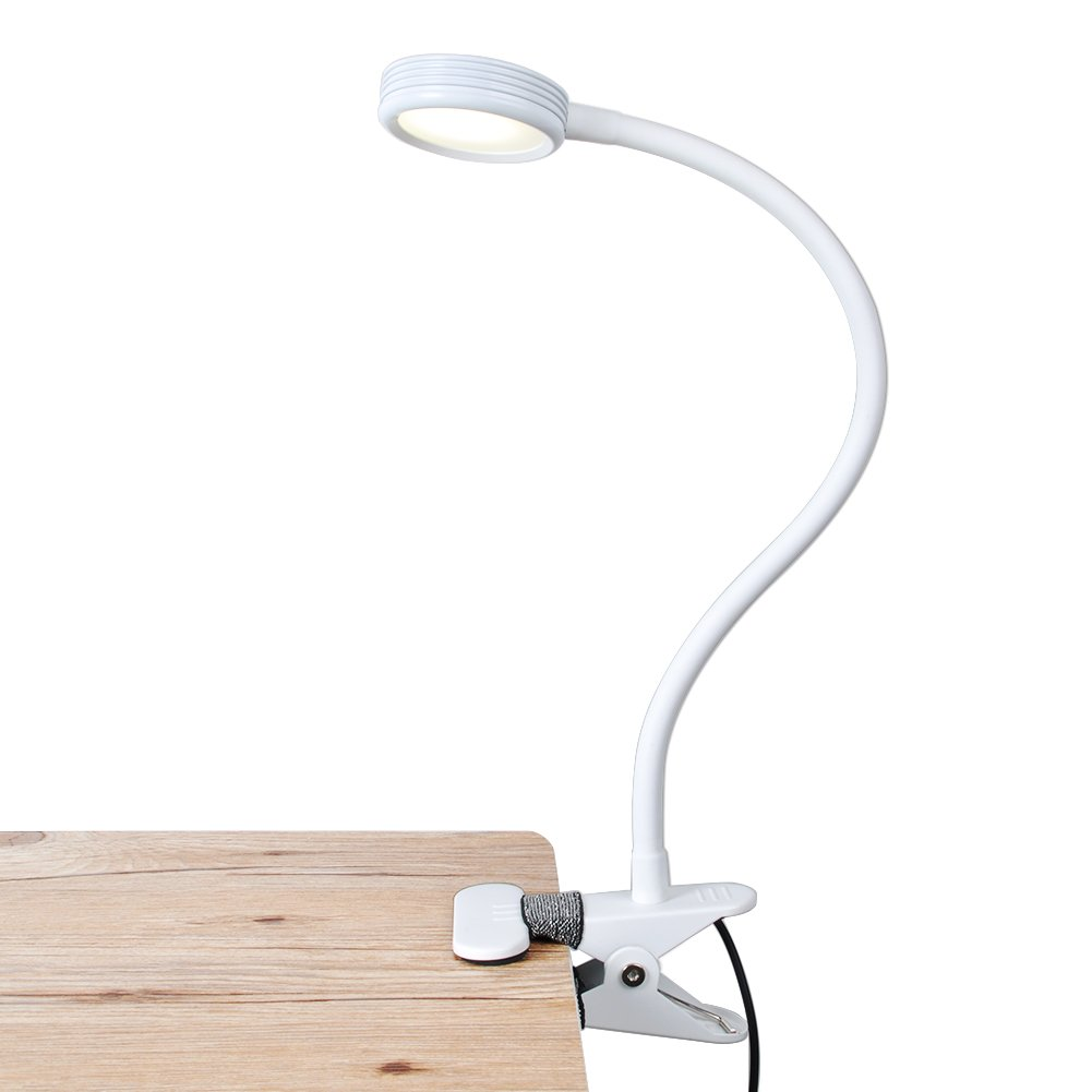 LEPOWER Metal Clip on Light/Reading Light/Light Color Changeable/Night Light Clip on for Desk, Bed Headboard and Computers (White)