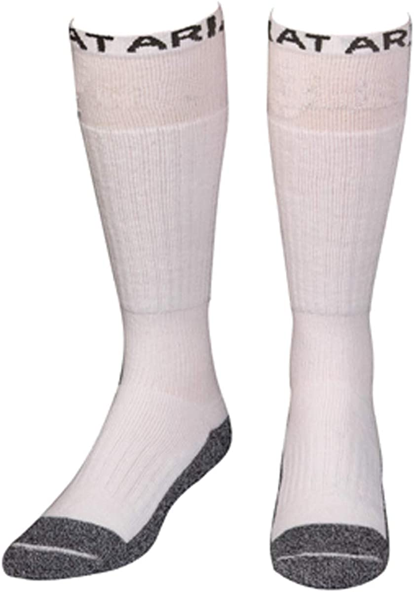 ARIAT A2502605-XL Mens Over The Calf Full Cushion Boot Socks - White - Extra Large - Pack of 2