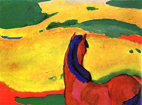 - $50-$2000 Handmade Paintings by College Teachers - Marc red Horse in a Landscape Expressionist Expressionism Franz Marc - Decorative Oil Paintings on Canvas for Wall Art Decor -Size01