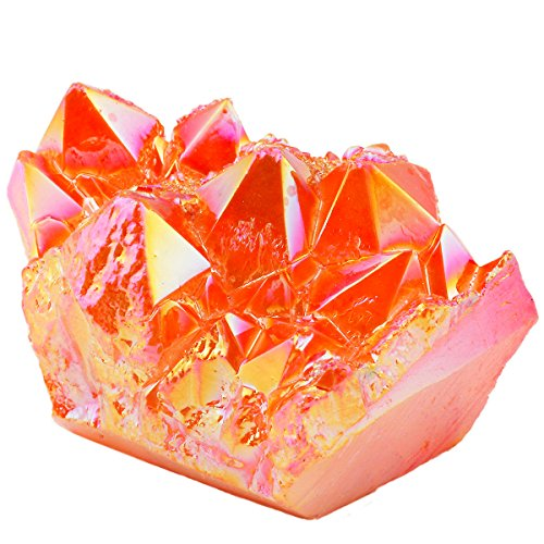 SUNYIK Orange Titanium Coated Crystal Cluster,Quartz Drusy Geode Gemstone (Orange Quartz Crystal)