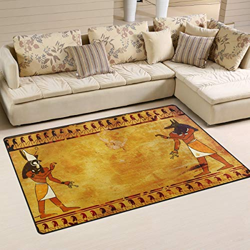 Vintage Retro Egyptian Gods Anubis and Horus Non-Slip Indoor Outdoor Entrance Rug Floor Mat Doormatsfor Home 60 x 39 inches