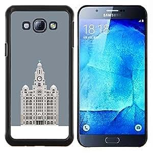 "Be-Star Único Patrón Plástico Duro Fundas Cover Cubre Hard Case Cover Para Samsung Galaxy A8 / SM-A800 ( Hotel Budapest gris minimalista Edificio"" )"