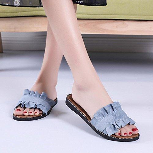 IntéRieur Couleur Bleu De Beautyjourney Femmes Talon Pantoufles Plage Sandales Plage Sandales ExtéRieur Chaussures Plastique De Sandales Solid Ete Sandales qzFzUvX