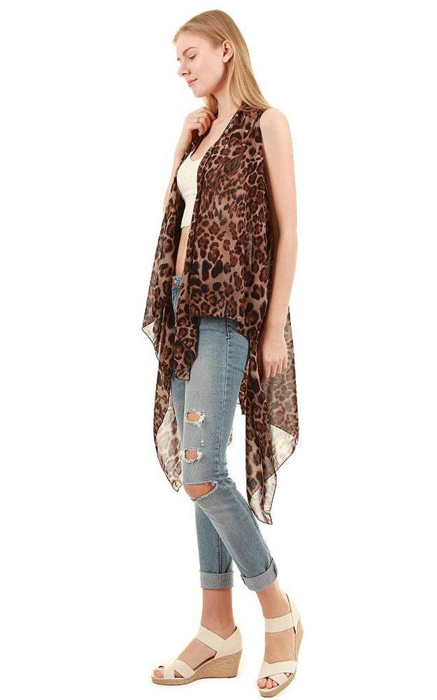 CCFW Sleeveless Animal Printed Hem Open Front Cardigan Multi Scarf Vest (Brown Leopard)