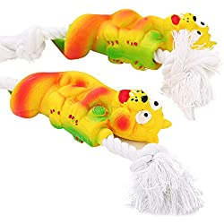 XBKPLO Dogs Toys,Grinding Teeth Toys - Funny Lovely Animal Snake Pet Puppy Cotton Rope Chew Interactive (Yellow)