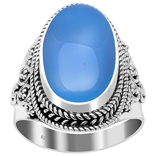 Chalcedony Long Oval Vintage 925 Sterling Silver Cocktail Ring (Oval Ring Long)