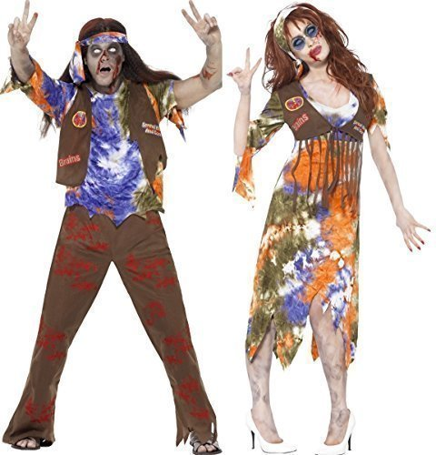 Couples Mens & Ladies Zombie Hippy Hippie 60s 1960s Halloween Fancy Dress Costumes Outfits (Ladies UK 16-18 & Mens Medium) -