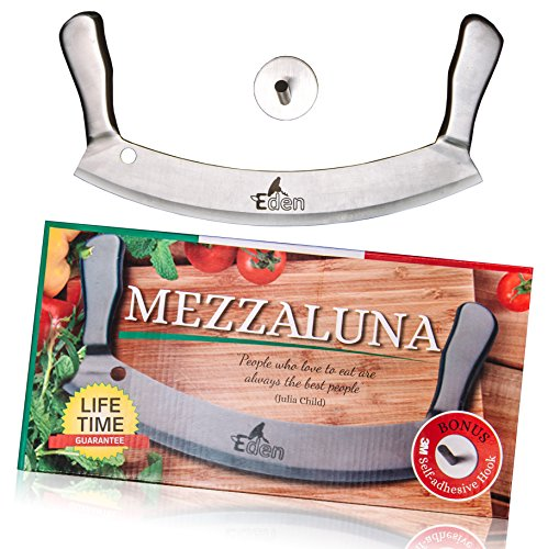 Mezzaluna Chopper with Cover, 12'' Stainless Steel Mezzaluna knife, Double handle Pizza Rocker and Salad Chopper Like Subway, Rocking Vegetable Chopper and Mincing Knife By Eden
