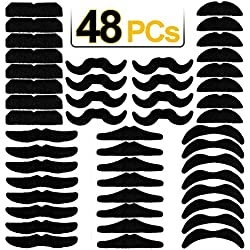 JoyJon 48 PCs Fake Mustaches Self Adhesive Beards Novelty Party Favors Supplies Decorations for Fiesta Masquerade Cinco de Mayo Party