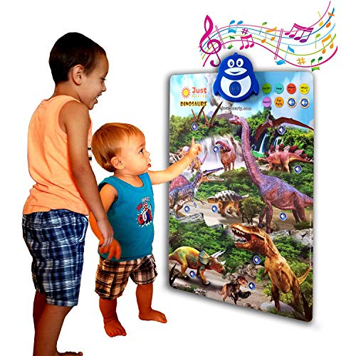 Just Smarty Dinosaur Interactive Learning Poster and Dino Toys with Music, Games and Educational Activities for Toddlers, Boys and Girls Ages 2,3,4,5,6 Includes Pack of 4 Realistic Dino Toy Figures