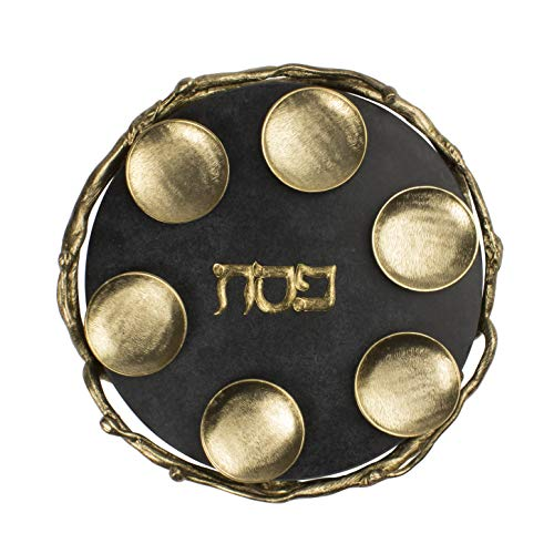 (Quest Collection Black and Gold Marble Seder Plate )