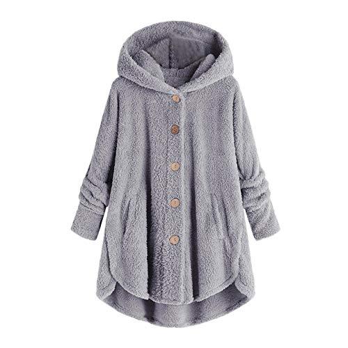 YANG  최고 여성 모직 코트 플러스 사이즈 착실히 따뜻한 겨울 버튼 봉 두건이 있는 정상 느슨한 카디건 울 코트 블라우스