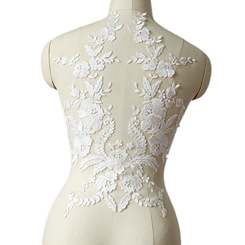 French Applique (Mangocore French lace fabric black Ivory white Cotton embroidered applique High-end wedding dress accessories Handmade DIY (white))