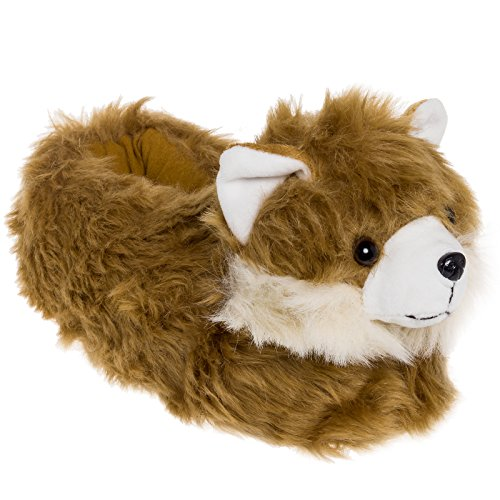 Pomeranian Gifts (Silver Lilly Animal Slippers - Plush Pomeranian Dog Slippers (Brown, Medium))