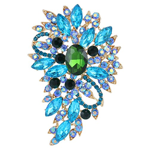 - EVER FAITH Women's Austrian Crystal Flower Leaf Bouquet Brooch Blue Aquamarine-Color w/Green Gold-Tone
