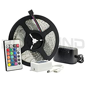 Blue Wind IP65 Waterproof 5M/16.4 Ft RGB SMD 3528 LED Color Changing 300 LED Flexible Strip Light + 24 Key IR Remote Control+ 12V 2A Power Supply