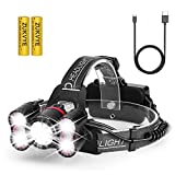 Zukvye Super Bright Headlamp, Rechargeable LED Headlamps Flashlight, 5000 Lumens, IPX4 Water-Resistant Headlamp, 5 Light Modes, for Hiking Camping DIY (2*18650 2500mah Battery Included)