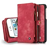 "iPhone 6s Detachable Wallet Case XRPow 2In1 Multi-Functional Removable Magnetic Back Cover 11 Card Slots & 3 Cash Pocket Premium Folio Zipper Wallet Case for iPhone 6/6s 4.7"" RED"