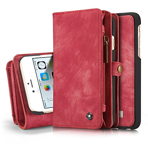 Gps Card Pocket Pc (iPhone 6s Plus Detachable Wallet Case XRPow 2In1 Multi-Functional Removable Magnetic Back Cover 11 Card Slots & 3 Cash Pocket Premium Folio Zipper Wallet Case for iPhone 6 Plus /6s Plus 5.5