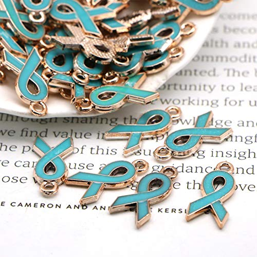 Blue Ribbon Charm - JETEHO 50pcs 20x10mm Enamel Ribbon Pendants Breast Cancer Awareness Charms Beads Dangle Pendant for Jewelry Making DIY Craft Projects(Blue)