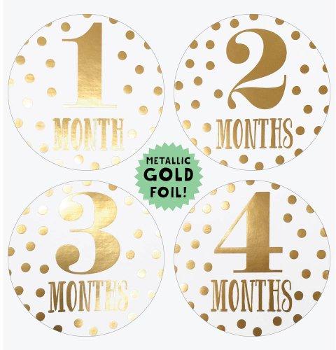 Lucy Darling Shop Baby Month Bodysuit Sticker - Baby Girl - Metallic Gold - Months 1-12