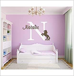 Horse Vinyl Decal Set Large Personalized Vinyl Wall Decal Girls Vinyl Wall  Art Name U0026 Initial