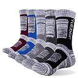 YUEDGE Mens Cotton Casual Cushioned Hiking Socks Moisture Wicking Crew Socks(XL)
