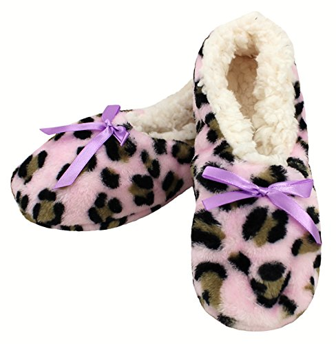 Enimay Womens Animal Print Fuzzy Soft Slipper Socks Anti-Slip Sole House Shoes Pink | Lavender Bow