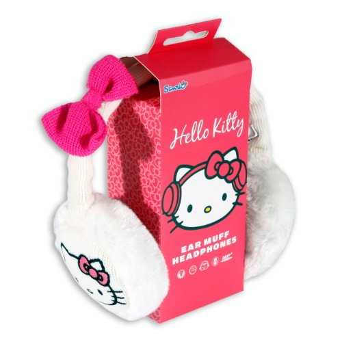 Hello Kitty Cosy Kitty Knitted Ear Muff Headphones White with Pink Bow ()