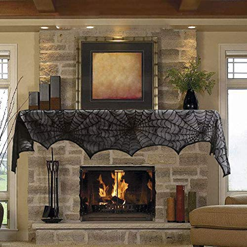 Spider Web - Quickdone Black Lace Spider Cobweb Fireplace Mantel Scarf Halloween Decorations Party Hg0573 - Decor Beachy Yellow Decorating Decorative Entryway Decorations Halloween Home Skull