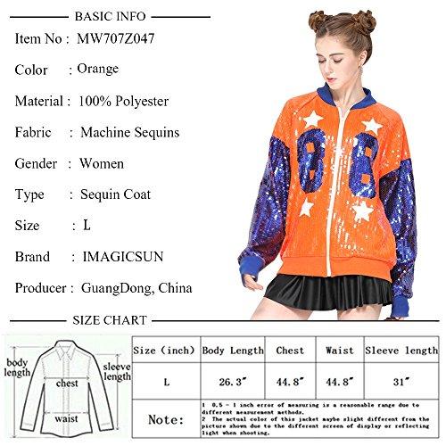 Sparkle Sequin Letter Jacket Coat - Glitter Long Sleeve Jacket for Women by IMAGICSUN (Image #7)