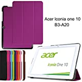 Acer Iconia One 10 B3-A20 case, iDudu Ultra Slim PU Leather Lightweight Smart-shell Stand Cover for Acer Iconia One 10 B3-A20 (NOT Fit B3-A30) 10-Inch Tablet (Purple)