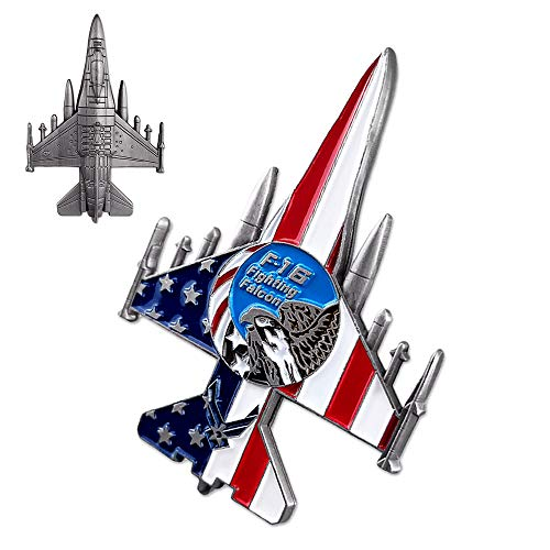 (US Air Force Challenge Coin Colorized F-16 Fighter Falcon Jet Military Coin for Airman)
