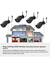 1080P wireless security camera system, 8-channel wireless NVR system with 4 1080P security IP cameras and 2TB hard drive preinstalled, 5.9ft night vision and easy remote control