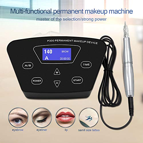 Permanent Makeup Machine - BIOAMSER P300 Permanent Makeup Tattoo Machines Device Kit Include Digital Permanent Makeup Power Supply Permanent Makeup Tattoo Pen and 2 Clip Cord with 10pcs Microbladi (Best Cheap Eyebrow Powder)