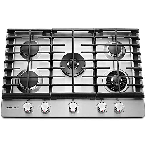 "KITCHENAID KCGS950ESS 30"" Wide Gas Cooktop with Griddle, 5 Sealed Burners, Even-Heat 10K BTU Torch Burner, 17K BTU Professional Dual Ring Burner, Electronic Ignition, Lighted Knobs in Stainless Steel"